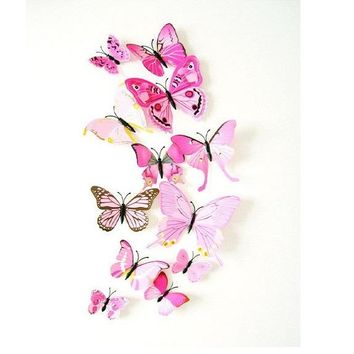 12 Pcs PVC 3D DIY Butterfly Wall Stickers