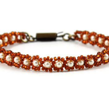 Cream Pearl Bracelet Seed Bead Jewelry Autumn Color Bracelet