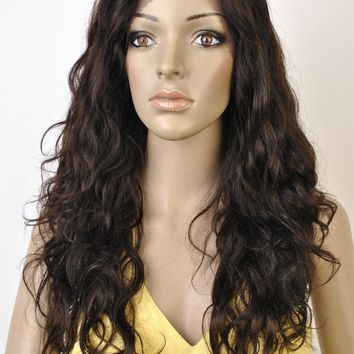 "Swiss Lace Wig. 100% Virgin Human Hair. Body Wave texture. 20"" Long."