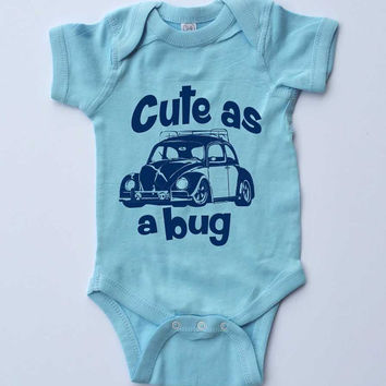 "Baby Onesuit-""Cute as a Bug""VW Beetle-Baby Boy Outfit-Blue Boy Onesuit bodysuit-Baby gift"