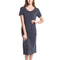 Over The Weekend Short-Sleeve Dress - Charcoal
