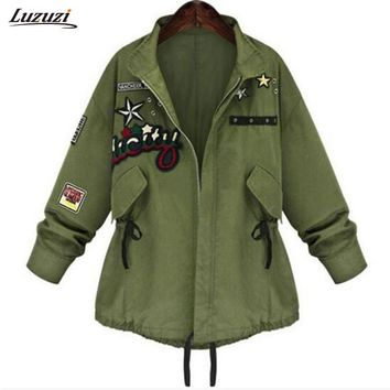 1PC Military Bomber Jacket Women Spring Autumn Embroidery Patch Coats Jaqueta Feminina Casaco Feminino Chaquetas Mujer Z012