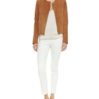Suede Hidden-Zip Jacket, Pointelle V-Neck Sweater & Stretch-Denim Leggings