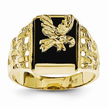 14k Yellow Gold Polished Mens Onyx Eagle Ring