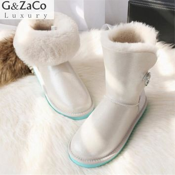 G&Zaco Luxury Winter Fur Boots Australia Sheepskin Snow Boots Natural Wool Middle Classic Boots Crystal Button Warm Flat Shoes