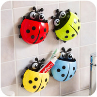 Cute Cup Pocket Toothbrush Stuff Ladybug Wall Suction Bathroom Holder Organizer