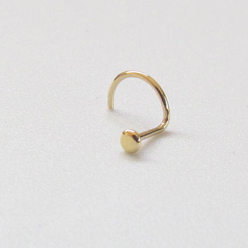 14k Solid Gold Dainty Disc Nose Stud. Descrete Minimalistic Barely There Nose Ring. Yellow or Rose Gold