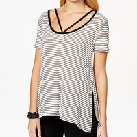 Polly & Esther Juniors' Strap-Detail Asymmetrical-Hem T-Shirt - Juniors Tops - Macy's