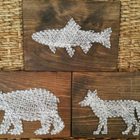 Set of 3 Woodland Creatures String and Nail Art Signs, Baby Boy Nursery Decor, Animal Wall Hangings, Rustic Home Decor, Ready to Ship