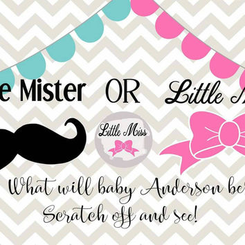 Gender Reveal Scratch OFF Card,  Gender Reveal, Baby Shower, Baby Shower Game, Gender Reveal Announcement, Little Mister Little Miss