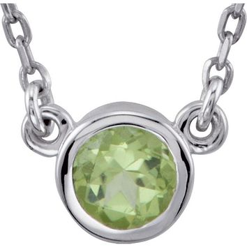"Sterling Silver 4mm Round Peridot Bezel Set 16"" Necklace"