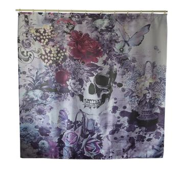 Gothic Skull Floral Waterproof Shower Curtain With Hooks