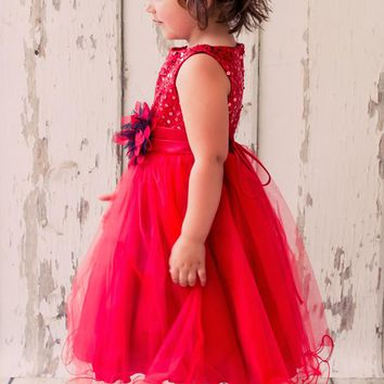 Red Sequin Party Dress with Lettuce Hem Tulle Skirt Baby Girls 3M-24M
