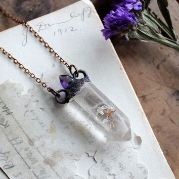 Amethyst & Clear Quartz Electroformed Copper Necklace