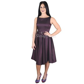 60's Vintage Style Purple Satin Flare Swing Party Dress