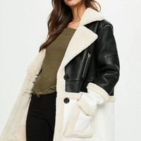 Missguided - Black Premium Faux Shearling Jacket