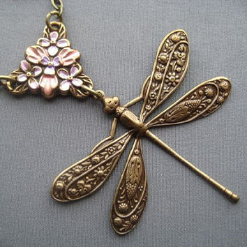 Dragonfly Jewelry - Dragonfly Necklace - Dragonfly Pendant - Art Nouveau Jewelry - Mothers Day Jewelry - Spring Jewelry