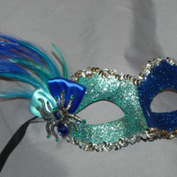 Aqua and Royal Blue Glitter Masquerade Mask with Spider Accent