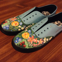 Pretty. Odd inspired hand painted shoes by AndreakasShoes on Etsy