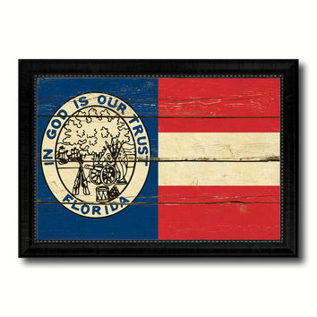 Civil War Florida Military Flag Vintage Canvas Print with Black Picture Frame Home Decor Wall Art Decoration Gift Ideas