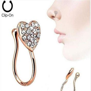 ac DCCKO2Q Stainless Steel Nose Rings Crystal Heart Fake Septum Piercing Gold/Silver Nose Clip On Hoop Fake Nose Rings&Studs  Body Jewelry
