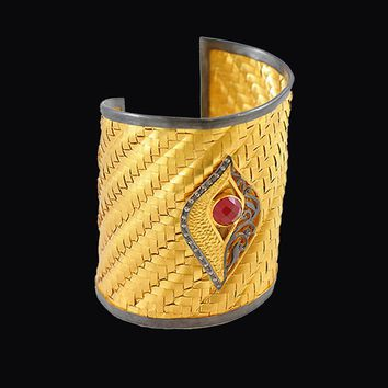 Art Deco Evil Eye Gold Cuff Bracelet