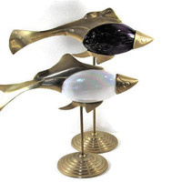 Fish Statues Stands Glass and Brass Purple White Pearlescent Set of 2