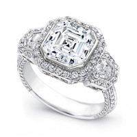 Engagement Ring - Large Asscher Cut Diamond Shield Halo Engagement Ring in Platinum - ES1257AC