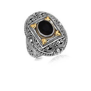 Rectangle framed and scrollwork style black onyx ring in 18k yellow gold and sterling silver