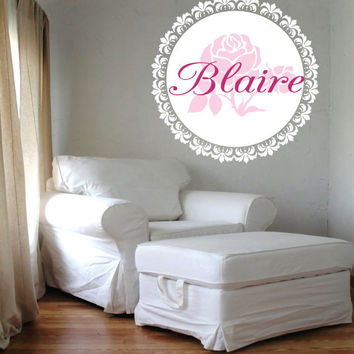 "Shabby Chic Name Decal-  Girls Rose and Damask Frame Circle Wall Decal-Teen- Baby Girl Nursery 22""H X 22""W"