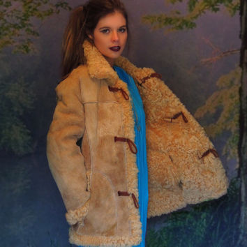 large Afghan coat /vintage natural suede fur lamb Russian princess duffle / reversible penny lane shearling Love Story classic