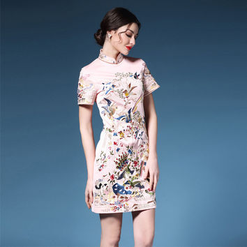 Summer Ladies Embroidery Chinese Style DressesFemale Animal Print Stand Collar Dress Qipao Wedding Jurkje Chinees Traditioneel