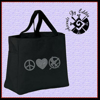 The ORIGINAL Hunger Games Inspired Peace Love Mockingjay Sturdy Rhinestone Tote Bag (your choice of color) Great Gift