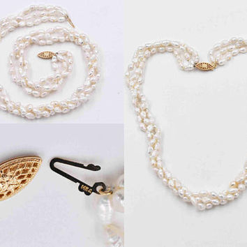 Vintage 14K Yellow Gold & White Pearl Necklace, 3-Strand, Choker, Freshwater, Baroque, Knotted, Twisted, Wedding, Beautiful! #c208
