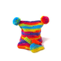 rainbow baby hat and booties pom pom colorful baby beanie matching baby hat and booties in bright colours 0-6 months