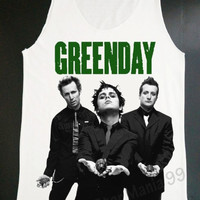 Green Day Tank Top Billie Joe Armstrong Tank Alternative Rock Shirt Vest Tank Top Women Tunic Top Sleeveless Singlet White Shirts Size S,M,L