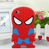 """Cartoon Cute 3D Super Hero Soft Rubber Silicone Back Case Cover Protective Skin For Apple iPhone 6 Plus 6+ 5.5inch 5.5"""" (I6+ 5.5"""" Red Spider Man)"""