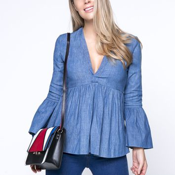 Denim Deep V-Neck Bell Sleeve Blouse With Ruffled Hem