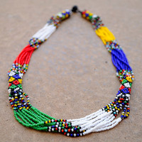 Multistranded beaded necklace,multicoloured African necklace,Traditional African beadwork, African seed beads,African jewellery