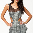 Silver Sequined Mesh Cut-Out Peplum Dress