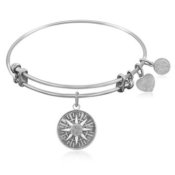 Expandable Bangle in White Tone Brass with Compass Personal Direction Symbol