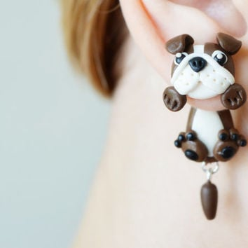 Dog earrings,brown english bulldog,animal ear jackets stud earrings,puppy clinging earring,double sided post,pet front back cuff,two part