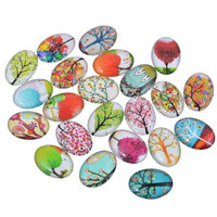 5  Glass oval Tree cabochon lot for jewelry pendant charm mix trees  18mm x 25mm