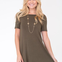 Short Sleeve Solid Flare Dress in Olive