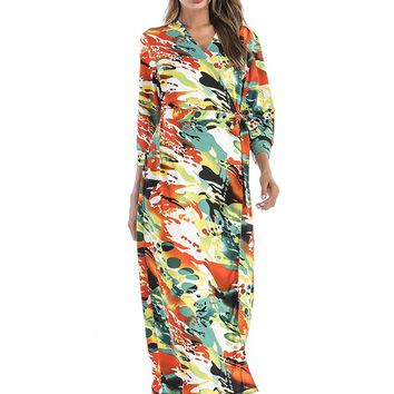 Wrapped Printed Long Maxi Dress