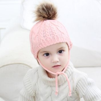 Winter Hat Fur Pompom Ball Beanies Autumn Warm Children Hats Baby Muts Boy Girl Cap Soft Knitted Bonnet Wool Crochet Caps Gorros