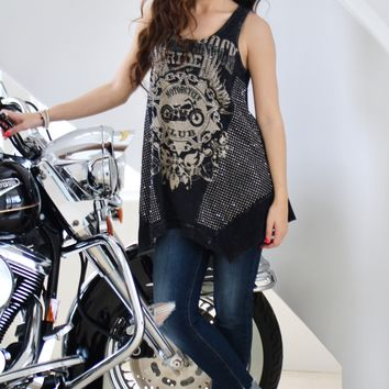 Rhinestone Side Motorcycle Front Tank Top