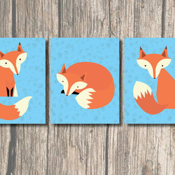 "Fox Print Set - Nursery Wall Art, 8""x10"", Instant Download, Printable Woodland Animal, Kid's Play Room Decor, Children's Art Poster"