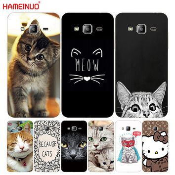 Cute kitty cat cover phone case for Samsung Galaxy 1 2 3 5 7 MINI ACE 2016 2015 prime