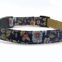 Navy Blue Floral MEDIUM Dog Collar
